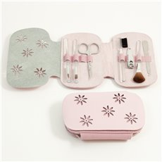 7 Pieces Manicure Set with Small Clipper, File, Scissor and 4 Makeup Brushes in Pink Leather and Ultra Sued Case