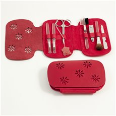 7 Pieces Manicure Set with Small Clipper, File, Scissor and 4 Makeup Brushes in Red Leather and Ultra Sued Case