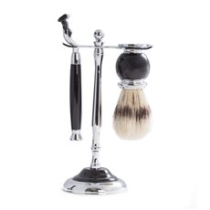 Mach3 Razor and Pure Badger Brush with Chrome Plated Black Enamel Finish