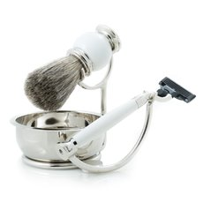 Mach 3 Razor with Badger Brush and Soap Dish on Chrome Stand and White Enamel Finish