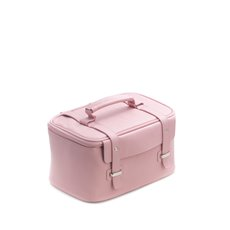 Pink Leatherette Travel Makeup Case with 3 Removable Compartments, Elastic Loops, Zippered Compartment, Nylon Lining and Zipper Closure