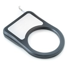 Magnifier with LED Torchlight Under Magnifier, 3' Tape Measure and LED Flashlight in Black ABS Case with Stainless Steel Accent