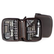 28 pc Tool Set in Brown Zippered Leatherette Case