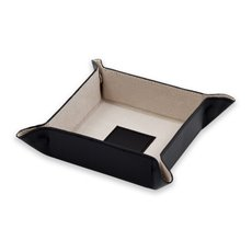 Black Leather Snap Valet with Pig Skin Leather Lining