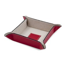 Red Leather Snap Valet with Pig Skin Leather Lining