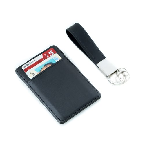 Black Leather Travel Wallet with Money Clip and Leather Strap Valet Key Ring Gift set