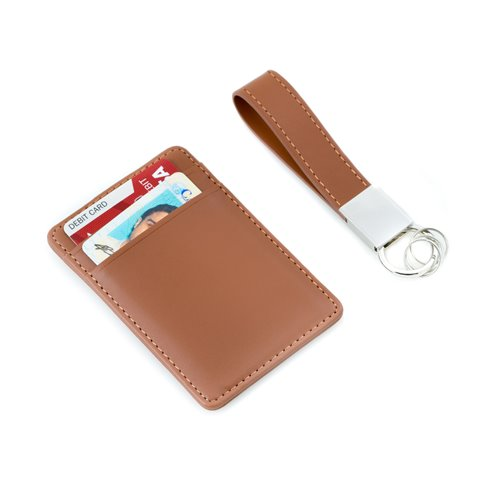 Brown Leather Travel Wallet with Money Clip and Leather Strap Valet Key Ring Gift Set