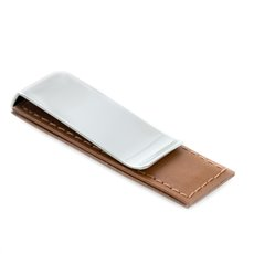 Chrome Plated Money Clip with Brown Leather Accent