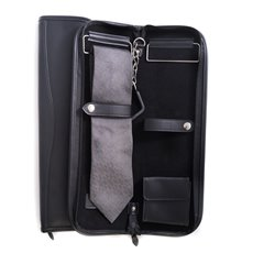 Travel Tie Case with Accessory Pocket and Hanging Hook in Zippered Black Leather