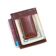 Brown Leather Magnetic Money Clip and Wallet with ID Window