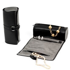 Black Leather Jewelry Roll with Compartments for Watches or Bracelets, Straps for Hanging Necklaces, Rings or Earrings Strap with Magnetic Clasp