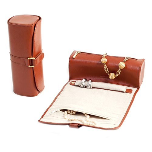 Tan Leather Jewelry Roll with Compartments for Watches or Bracelets, Straps for Hanging Necklaces, Rings or Earrings Strap with Magnetic Clasp