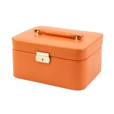Orange Lizard Debossed Leather Jewelry Box