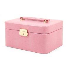 Pink Lizard Debossed Leather Jewelry Box