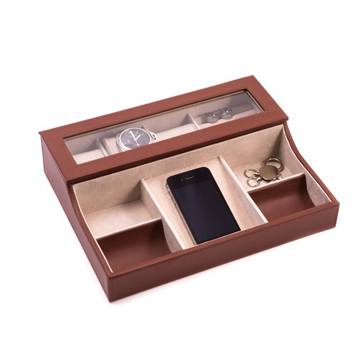Brown Leather with Pig Skin Valet Box for 3 Watches and Slots for Cufflink Under Glass See-thru Top with Multi Compartments for Accessories
