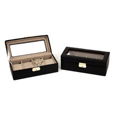 Black Leather Four Watch Case with Glass Top and Locking Clasp
