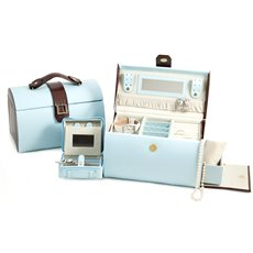 Blue and Brown Croco Leather Jewelry Box with Removable Travel Tray, Side Compartments, Mirror and Magnetic Clasp