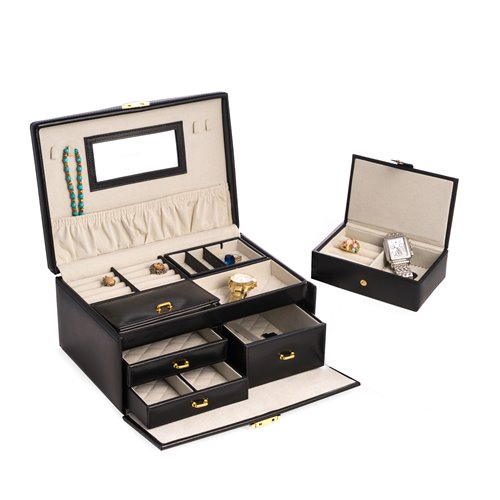 Black Leather 2 Level Jewelry Box with 3 Drawers, Removable Travel Tray, Mirror and Locking Clasp