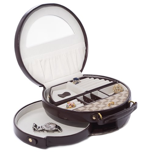 Two-Tone Brown Leather and Cloth Material Round Jewelry Box with Removable Travel Tray, Swinging Drawer, Mirror and Magnetic Clasp