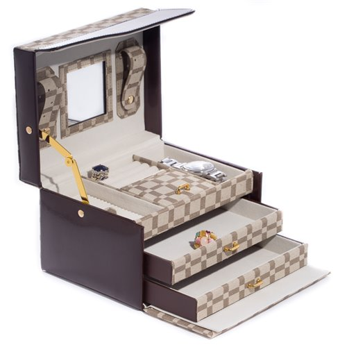 Two-Tone Brown Leather and Cloth Material 3 Level Jewelry Case with Two Drawers, Mirror and Magnetic Clasp
