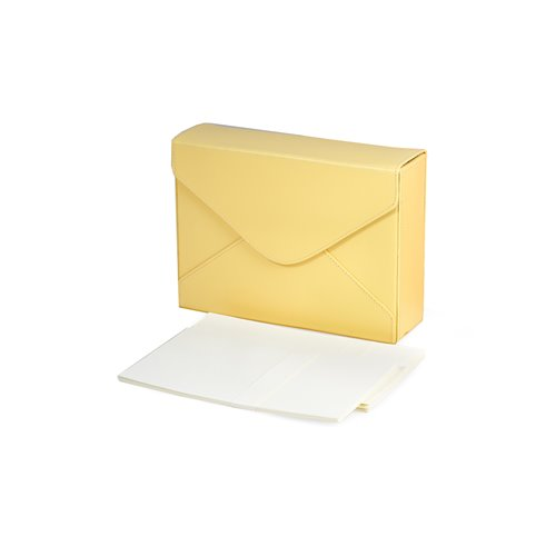 Yellow Leather Stationery Box with Envelopes, Stationery and Magnetic Snap
