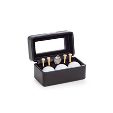 Golf Accessories Black Leather Box with Glass Top