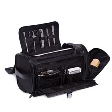 Black Leather and Nylon Tote Bag with 5 oz Flask, Bar tool, Deck of Playing Cards, 5 Piece Shoe Shine Set and 5 Piece Manicure Set which