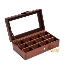 Brown Leather 12 Cufflink Box with Glass Top, Snap Closure and Velour Lined