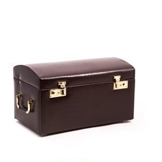 Brown Croco Leather Jewelry Chest with Multi Levels, 2 Removable Travel Cases, Mirror and Locking Clasps