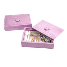 Pink Croco Leather Valet Tray with Multi Compartments and Lid