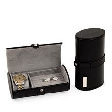 Black Leather Watch and Cufflink Travel Case with Snap Closure