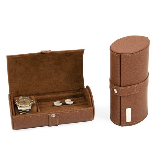 Tan Leather Watch and Cufflink Travel Case with Snap Closure