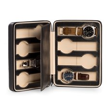 Black Leather 8 Watch Storage / Travel Case with Form Fit Compartments, Center Divider to Prevent Watches from Touching and Zipper Closure