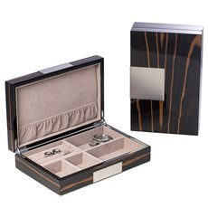Lacquered African Ebony Burl Wood Valet Box with Stainless Steel Accents and Multi Compartments Storage