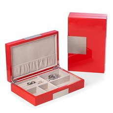 Lacquered Red Wood Valet Box with Stainless Steel Accents and Multi Compartments Storage