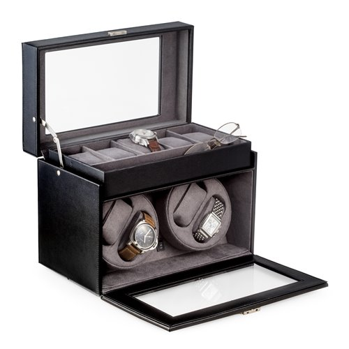 Black Leather Four Watch Winder and 5 Watch Storage Case with Locking Clasp