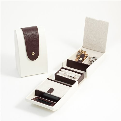 Ivory and Brown Leather 2 Compartment Jewelry Case with Snap Closure