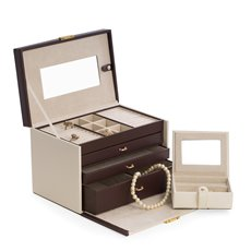 Ivory and Brown Leather 4 Level Jewelry Box with 3 Drawers, Mirror, Secret Compartment Behind Mirror, Removable Travel Case and Locking Clasp
