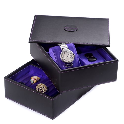 Black Leather Stacked Jewelry Box with 2 Watch Pillows, Slots for Rings, Earnings and Mirror