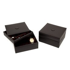 Brown Leather Stacked Valet for 6 Watches and 20 Cufflinks with Lid