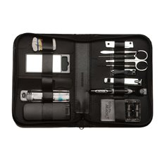 14 Pieces Manicure and Grooming Set in Black Leather Zippered Case