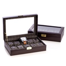 Brown Leather 10 Watch Case with Glass Top and Locking Clasp