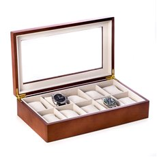 Cherry Wood 10 Watch Box with Glass Top and Velour Lining and Pillows