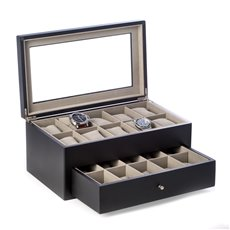 Matte Black Wood 20 Watch Box with Glass Top and Drawer, Velour Lining and Pillows