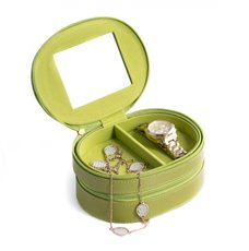 Lime Lizard Leather Two Level Jewelry Case with Mirror, Zipper Closures and Soft Velour lined