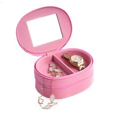 Pink Lizard Leather Two Level Jewelry Case with Mirror, Zipper Closures and Soft Velour lined