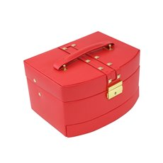 3 Level Hinged Red Leather Jewelry Box with Studs