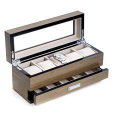 Lacquered Silver Walnut Wood 5 Watch Box with Glass Top and 5 Compartment Accessory Drawer and Chrome Accents