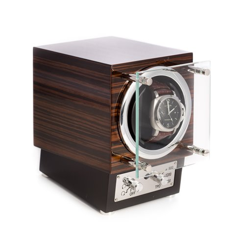 Ebony Burlwood Watch Winder with Glass Door Selectable Winding Mode for Clockwise, Counterclockwise or Dual Direction Rotation