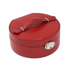 Red Croco Leatherette Round Jewelry Box with Slots for Rings, Mirror, Multi Compartments and Locking Clasp